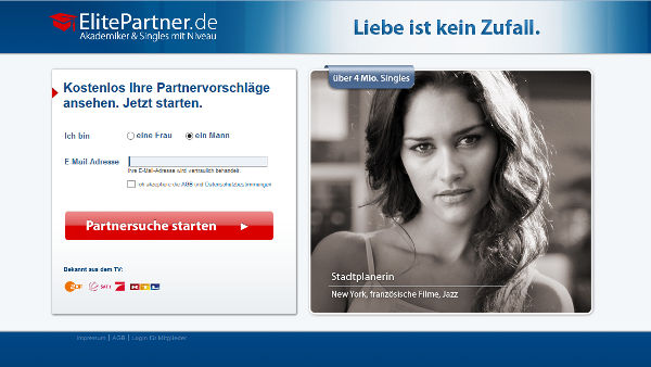 ElitePartner Homepage Sceenshot