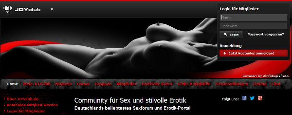 JOYclub Homepage Sceenshot