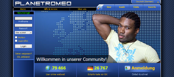 Planetromeo Homepage Sceenshot