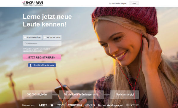 ShopAMan Homepage Sceenshot