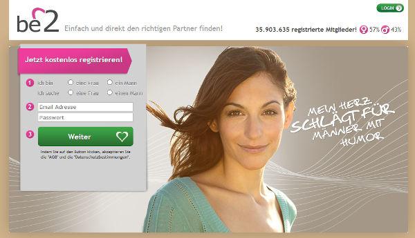be2 Homepage Sceenshot