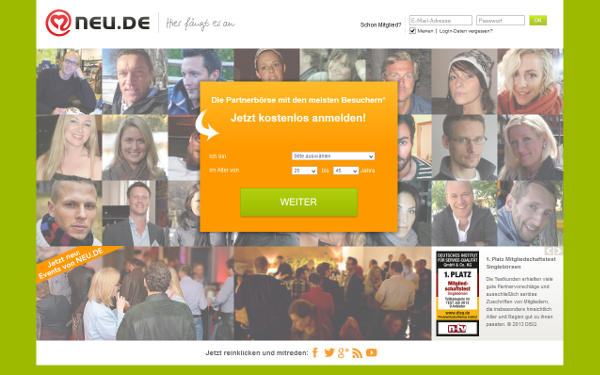 neu.de Homepage Sceenshot