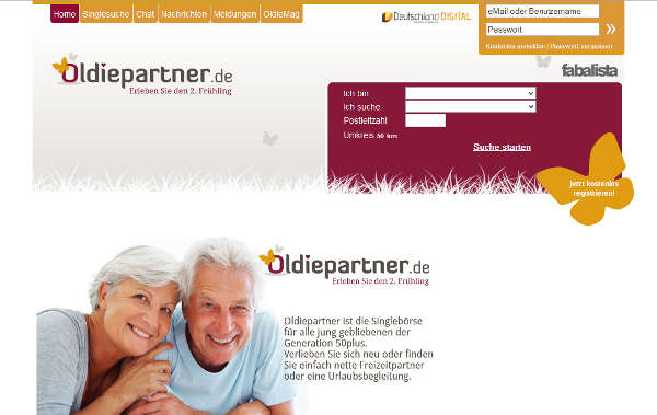 Oldiepartner.de Homepage Sceenshot