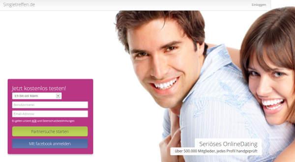 Singletreffen.de Homepage Sceenshot