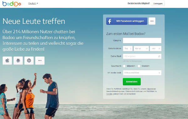 Badoo Homepage Sceenshot