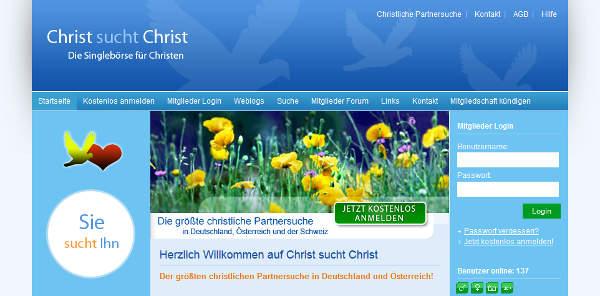 Christ sucht Christ Homepage Sceenshot
