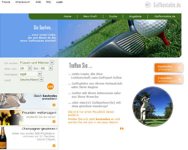 Golfkontakte Homepage Sceenshot