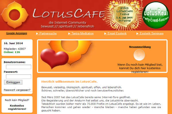 LotusCafe Homepage Sceenshot