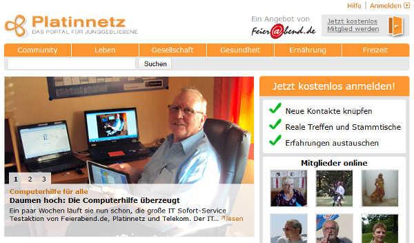 Platinnetz Homepage Sceenshot