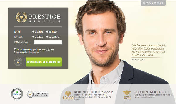 Prestige Singles Homepage Sceenshot