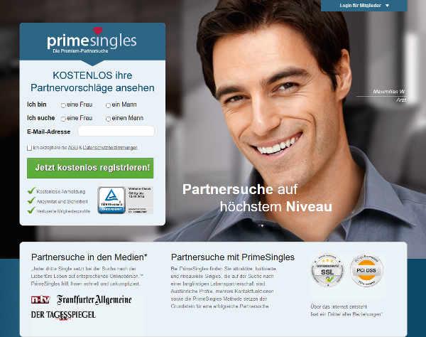 PrimeSingles Homepage Sceenshot
