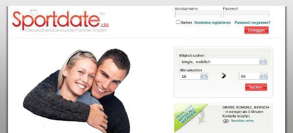 Sportdate.de Homepage Sceenshot