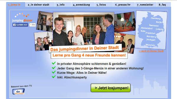 jumpingdinner Homepage Sceenshot