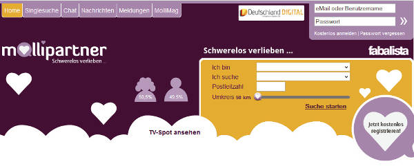 mollipartner Homepage Sceenshot