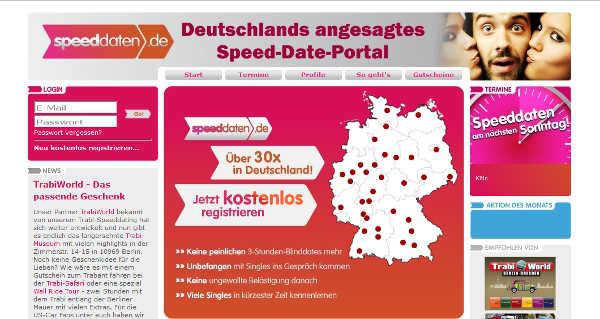 speeddaten.de Homepage Sceenshot