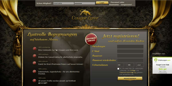 Cougar Lover Club Homepage Sceenshot