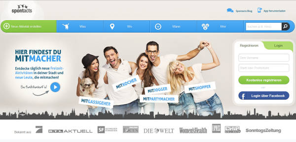 Spontacts Homepage Sceenshot